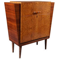 Italian Deco 1930s Burl Wood Bar with Glass Shelf