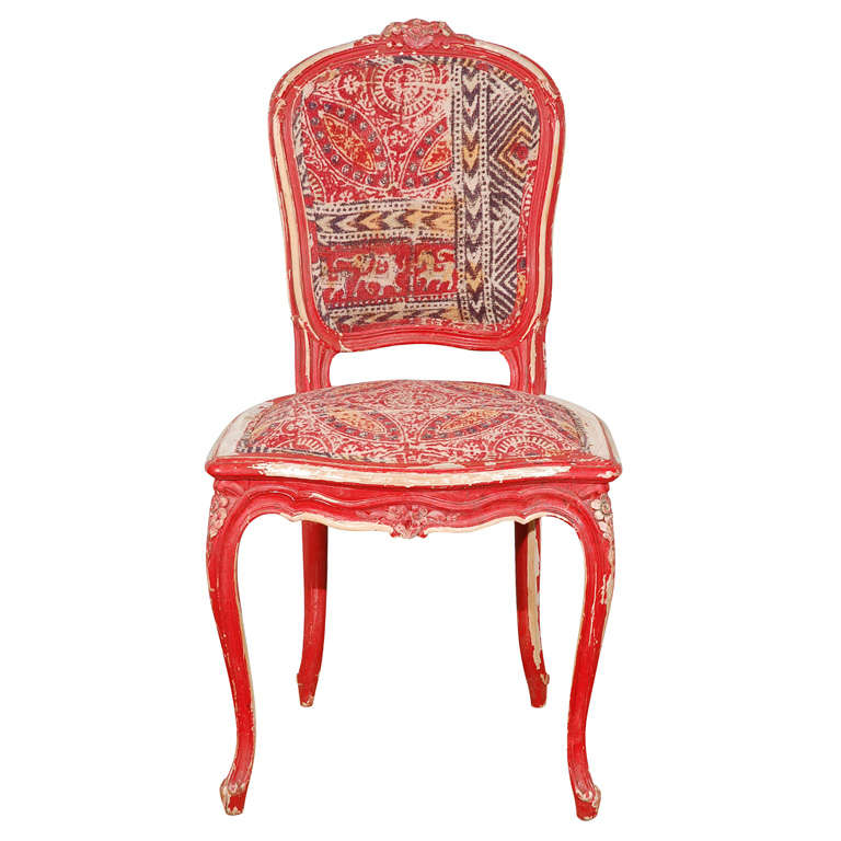 Funky red chair with kalamkari indian fabric at 1stdibs for Funky fabric dining chairs