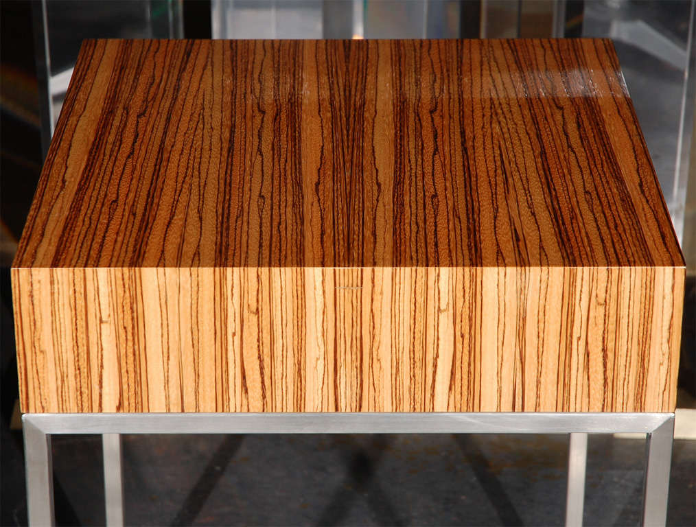Custom Made Zebra Wood And Brushed Nickel Nightstand Side Table At 1stdibs