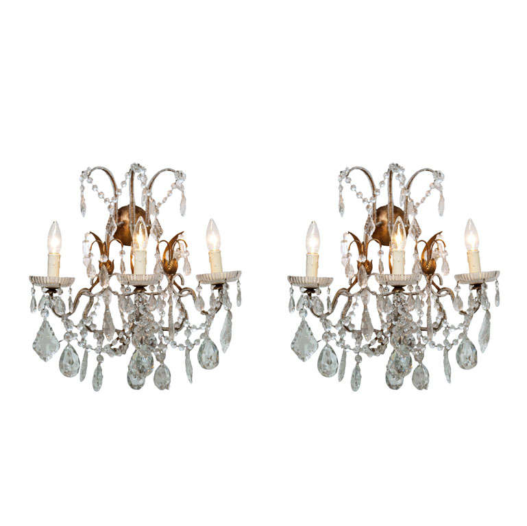 Beaded Crystal Wall Sconces : Pair Crystal and Gilt Beaded Sconces at 1stdibs