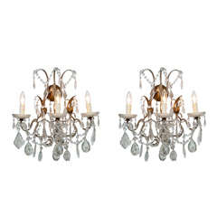 Pair Crystal and Gilt Beaded Sconces