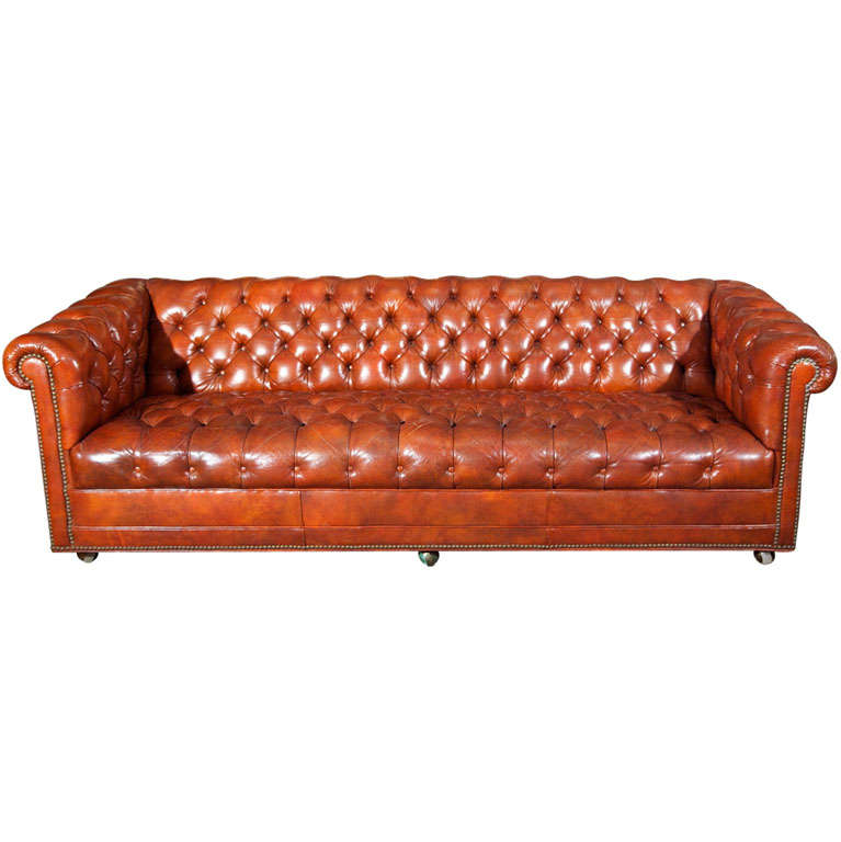 Chesterfield Tufted Leather Sofa; Smileydot us