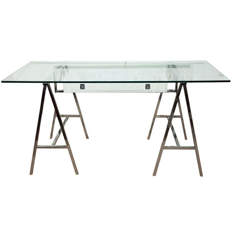 gorgeous mid century chrome trestle desk 1
