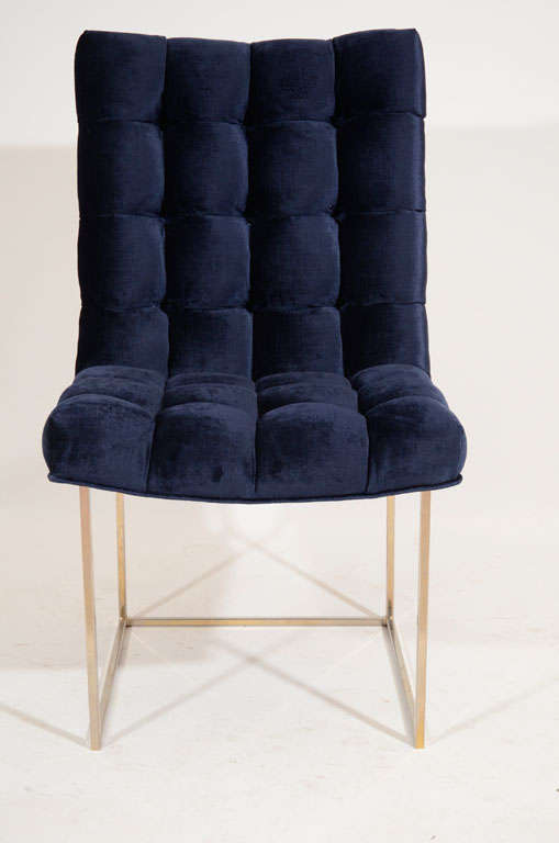Set of 6 Milo Baughman Tufted Velvet Dining Chairs image 3