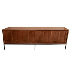 Walnut Sliding Door Credenza with Solid Brass Handles