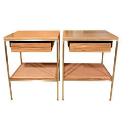 Zebra wood bedside tables with solid brass and cane shelves