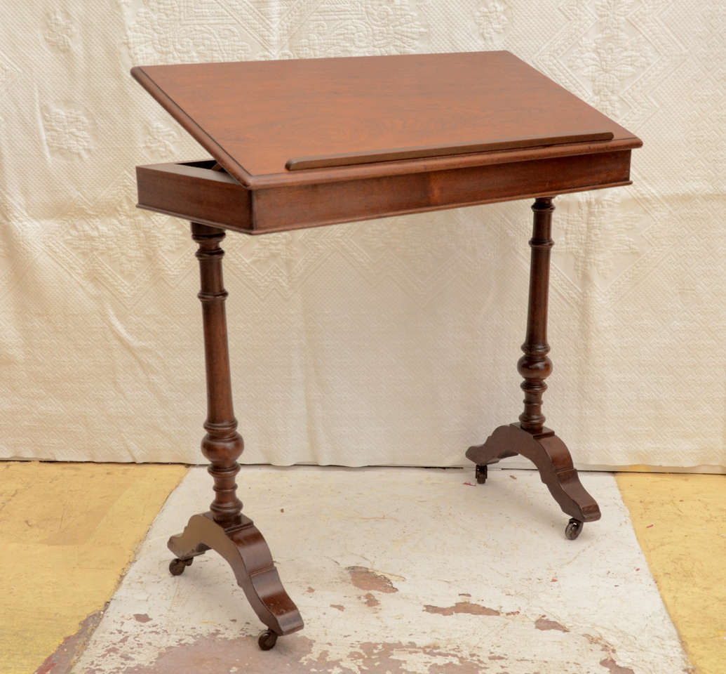 ENGLISH VICTORIAN WALNUT ADJUSTABLE RATCHET TOP READING TABLE ON  CASTORS  GREAT FOR END TABLE
