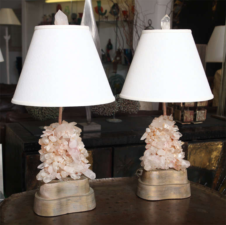 Pair of Rock Crystal lamps designed by Carol Stupell.<br /> I have the original shade that match the shape of the<br /> gilt wood base's(see photo).