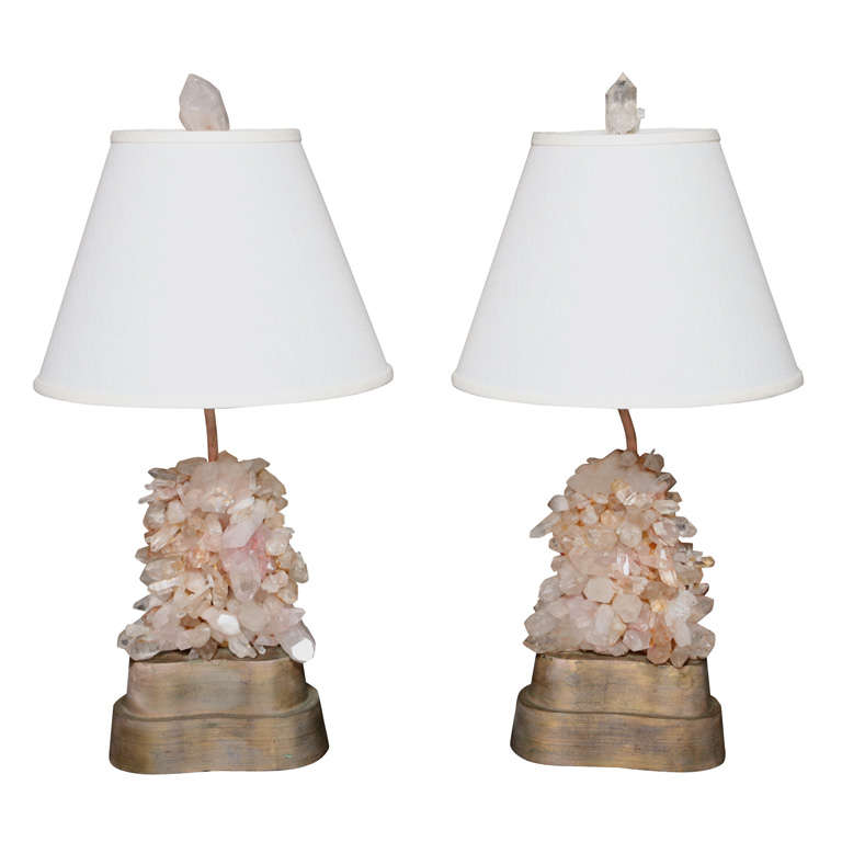Pair of Carol Stupell Rock Crystal Lamps