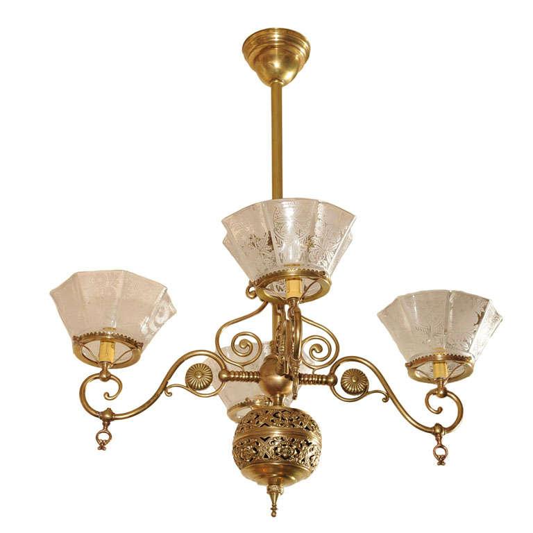 Four Arm Victorian Gas Chandelier, Gas Light Style Chandelier