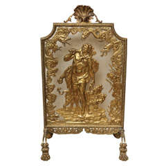 very fine bronze dore fire screen