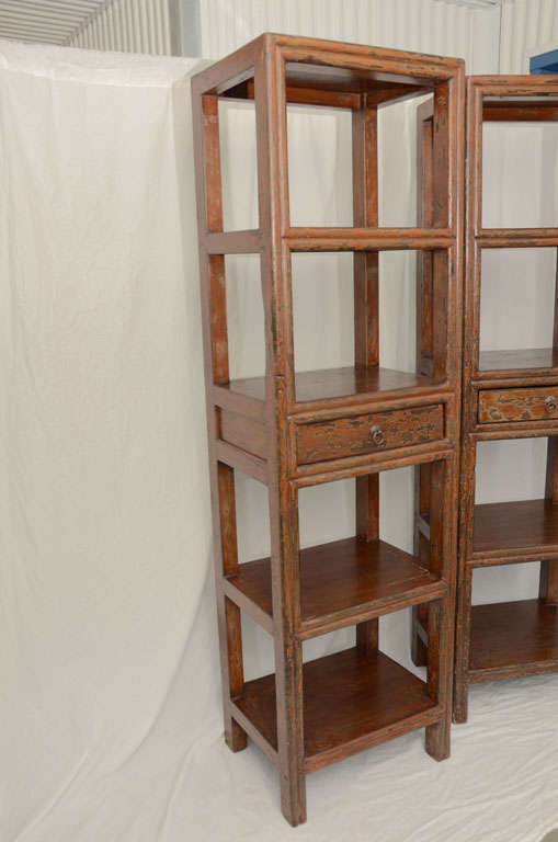 19thC. Q'ing Dynasty Jiangsu Crackle Lacquered Opened Bookcase 7