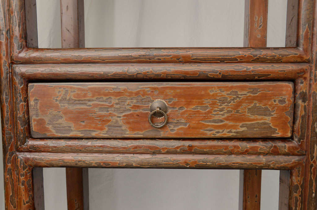 19thC. Q'ing Dynasty Jiangsu Crackle Lacquered Opened Bookcase 9