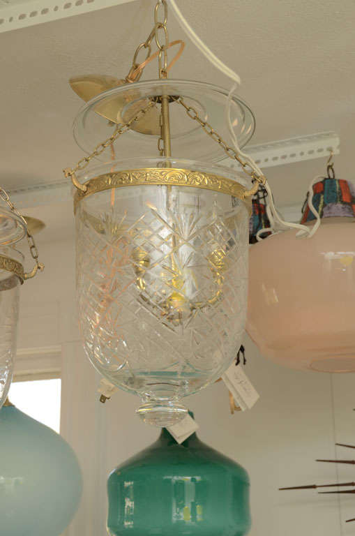 Italian Etched Bell Jar Pendant with Brass Detail For Sale