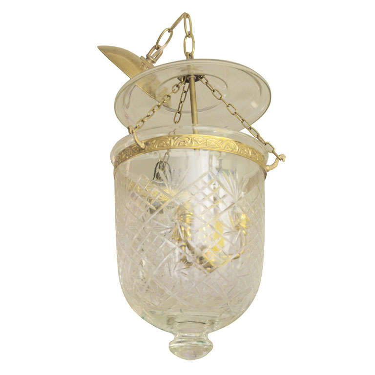 Etched Bell Jar Pendant with Brass Detail For Sale