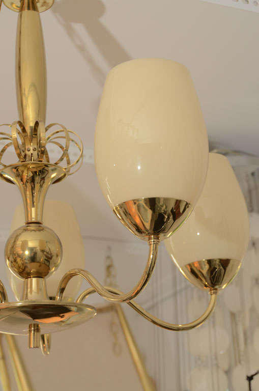Mid-Century Modern Five-Arm Brass Chandelier with Opaque Glass Globes For Sale