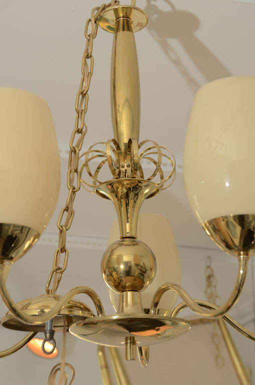 Italian Five-Arm Brass Chandelier with Opaque Glass Globes For Sale