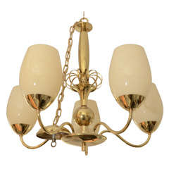 Five-Arm Brass Chandelier with Opaque Glass Globes