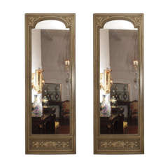 Pair of Antique 19th Century Painted Panel Mirrors