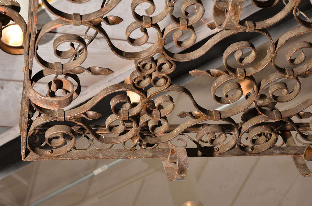 19th Century Wrought Iron Five Light Chandelier For Sale