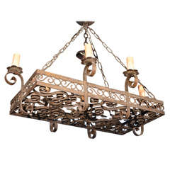 19th Century Wrought Iron Five-Light Chandelier
