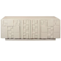 White Lacquered Lane Furniture Brutalist Dresser in the Manner of Paul Evans