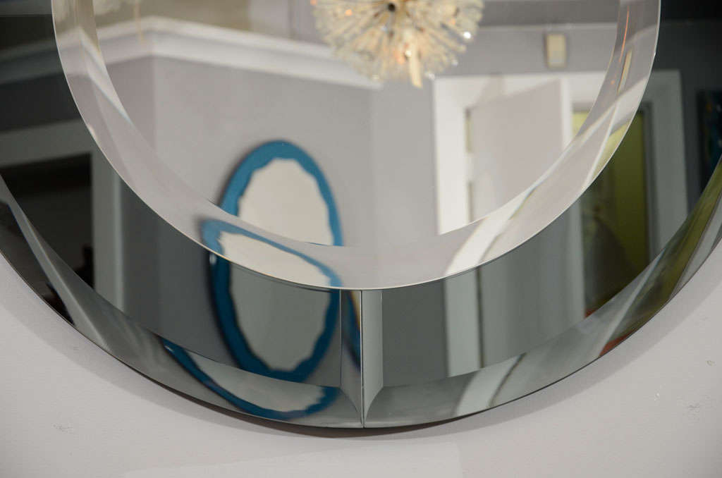 Round Beveled Mirror with Smoke Glass Border in the Manner of Karl Springer For Sale 1
