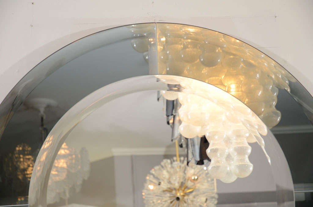 Modern Round Beveled Mirror with Smoke Glass Border in the Manner of Karl Springer For Sale