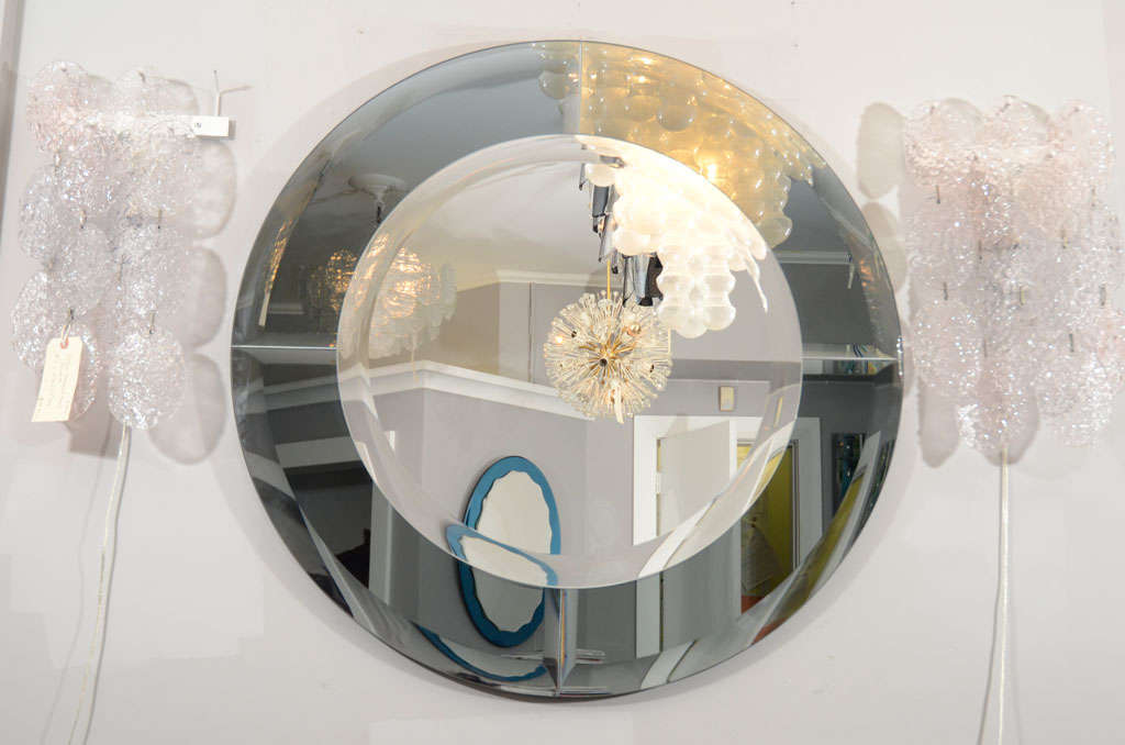 Custom round beveled mirror with smoke glass border in the manner of Karl Springer. Customization is available in different sizes and glass colors.