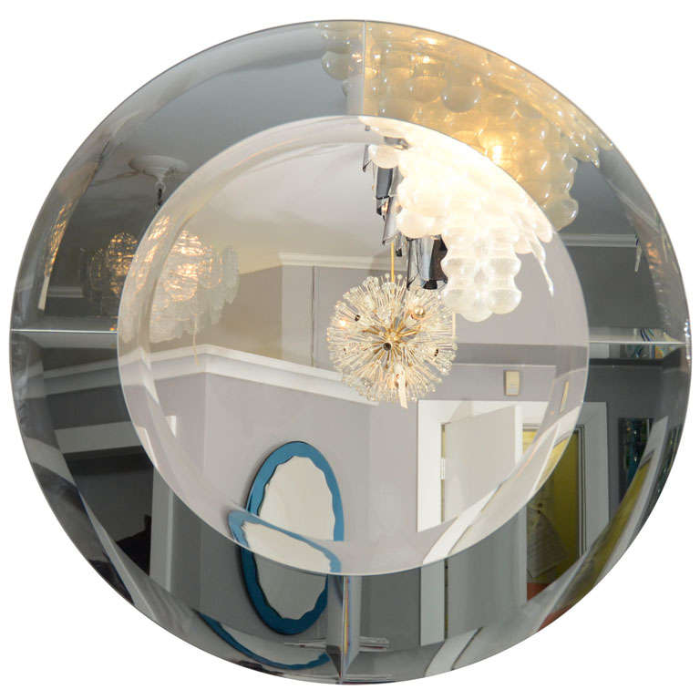 Round Beveled Mirror with Smoke Glass Border in the Manner of Karl Springer For Sale