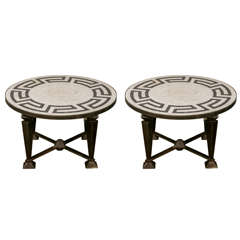 Pair of Neoclassical Mosaic Top Tables on Metal Base