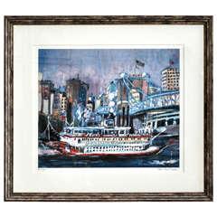 Cincinnati River Boat by Frederic Bonin Pisarro