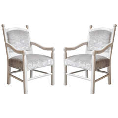 Pair of Pearl White Lacquered Arm Chairs