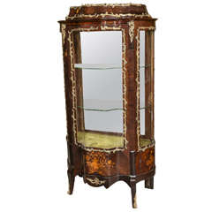 R. J. Horner French Inlaid Serpentine Front Vitrine