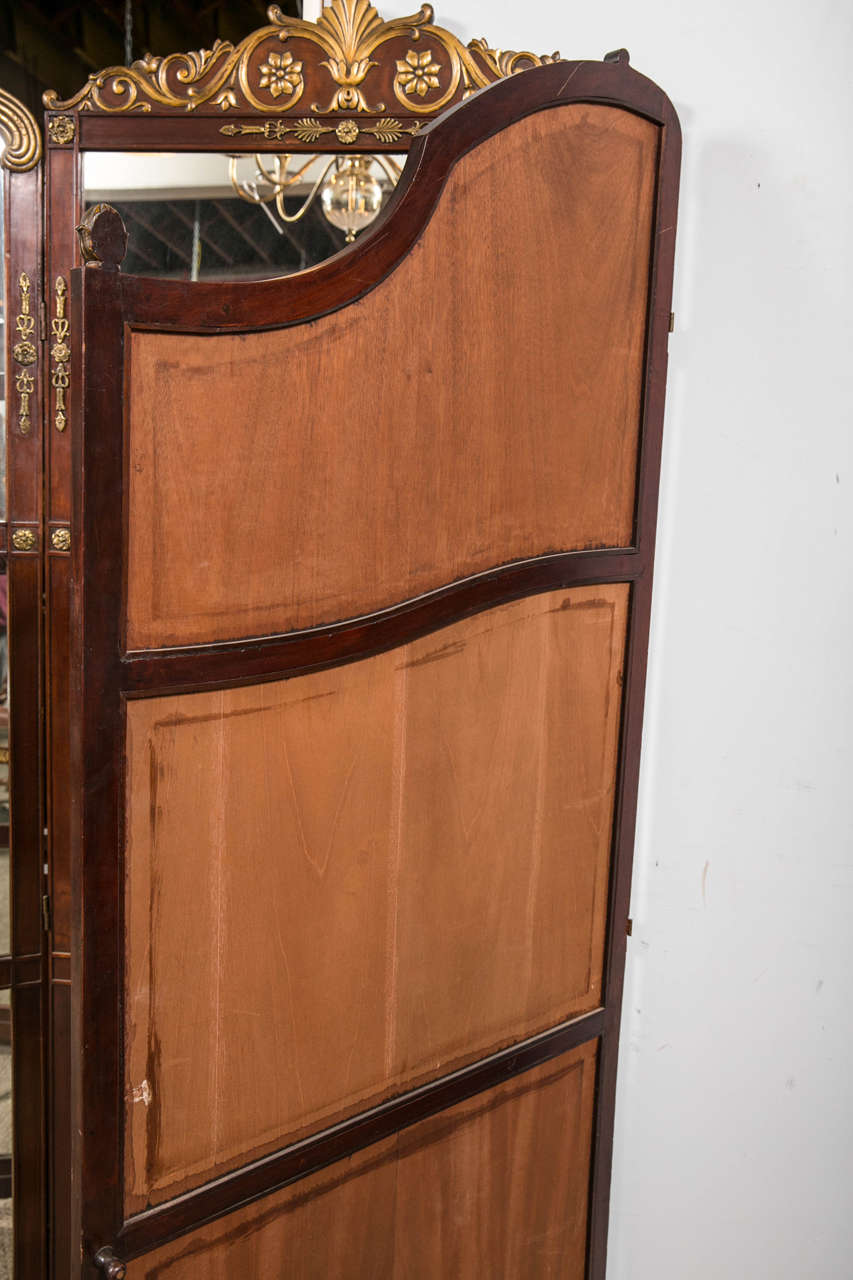 Mid-19th Century Three-Panel Room Divider or Screen Mirror and Mahogany, Early 19th Century For Sale