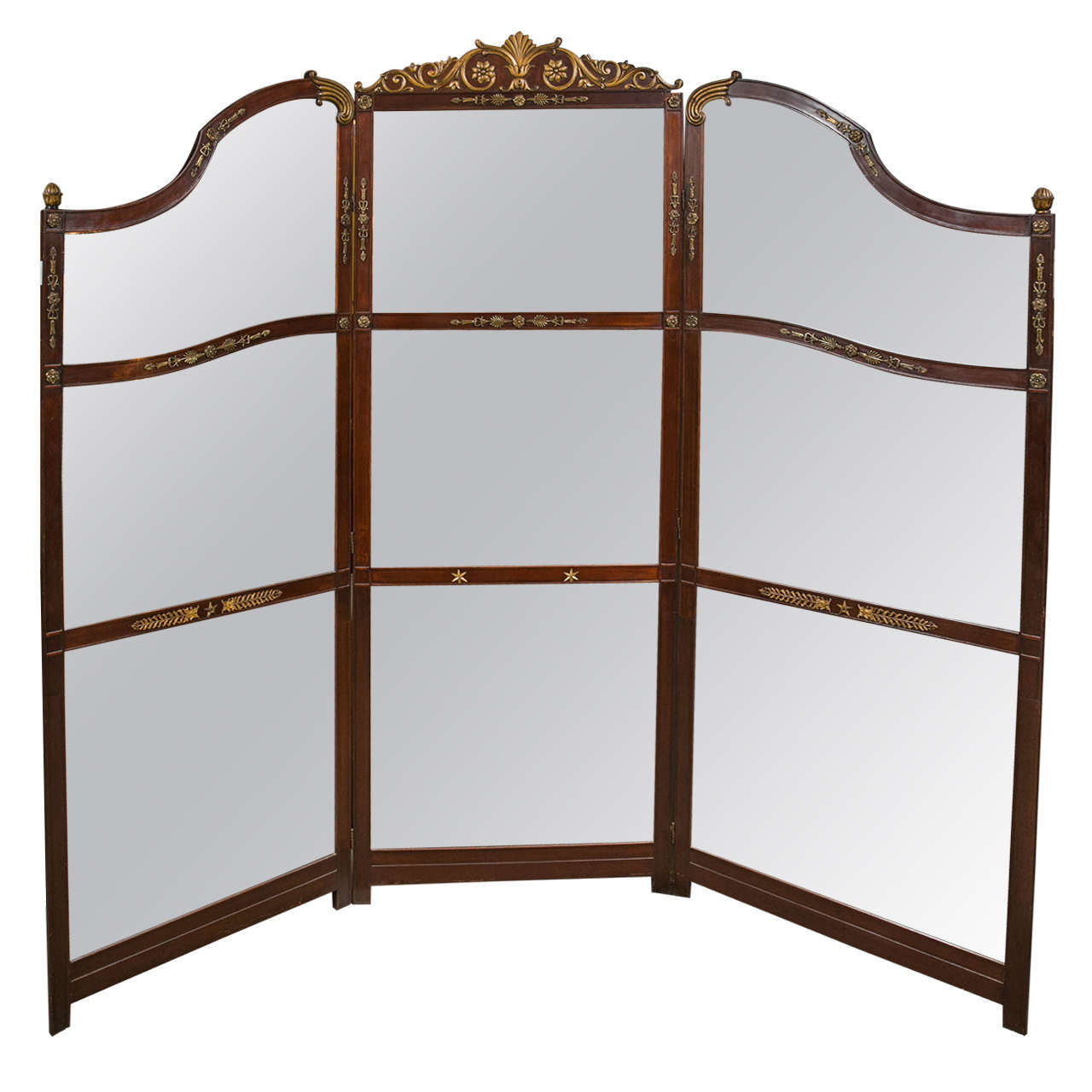 Three-Panel Room Divider or Screen Mirror and Mahogany, Early 19th Century 1