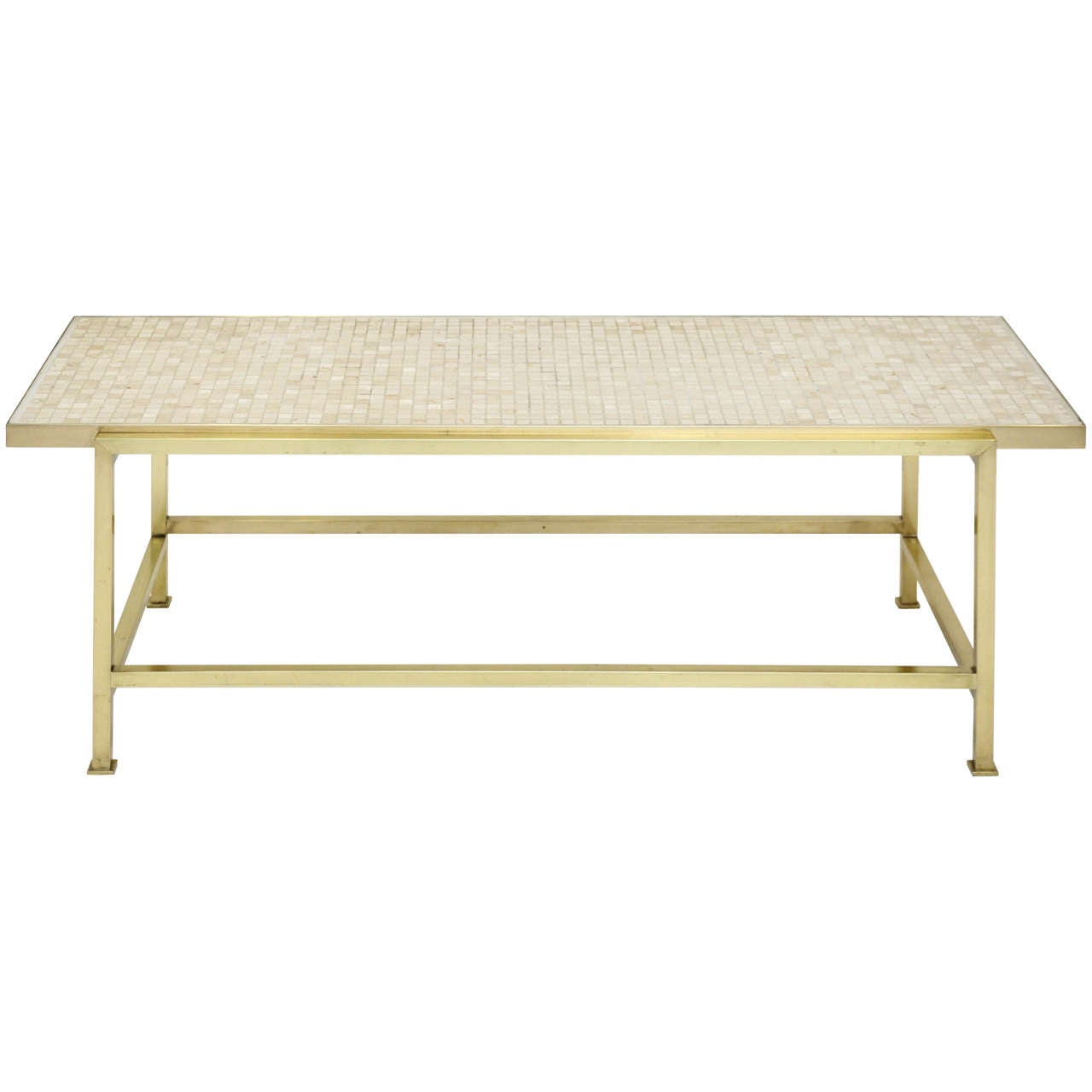 Dunbar Brass And Travertine Coffee Table By Edward Wormley