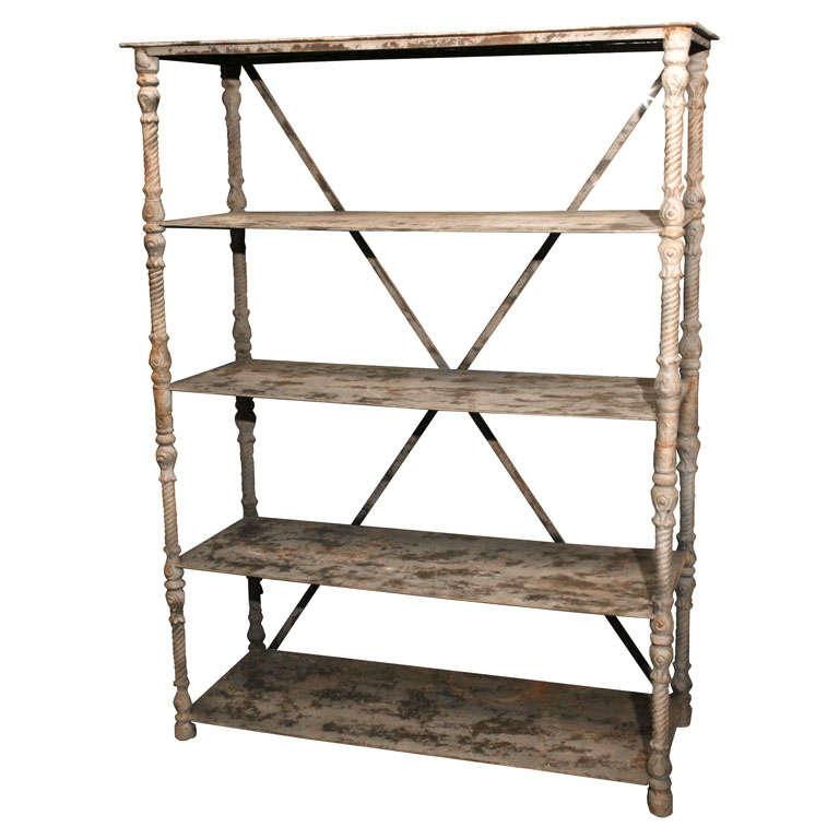 vintage metal shelving unit at 1stdibs. Black Bedroom Furniture Sets. Home Design Ideas