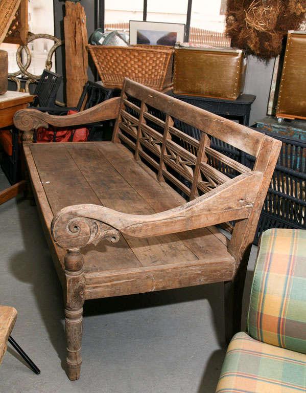 Vintage Teak Wood Bench At 1stdibs