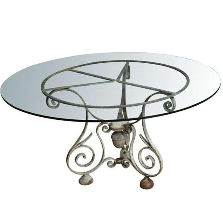 Napoleon iii cast iron base round table with glass top at for Cast iron table with glass top