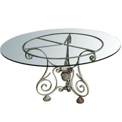Napoleon III Cast Iron Base Round Table with Glass Top