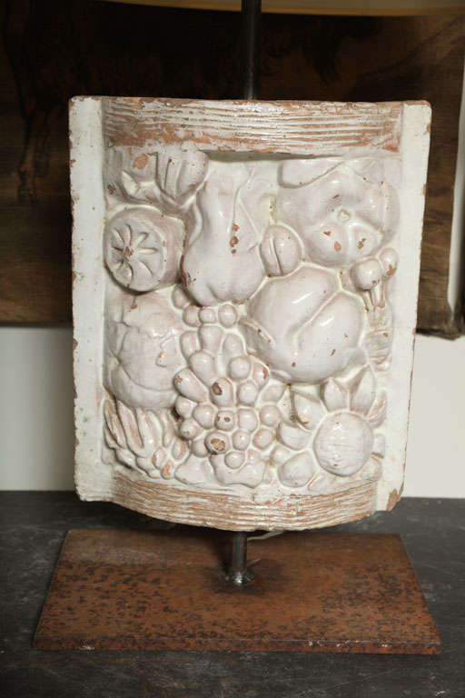 Pair of White Faience Table Lamps with Fruit Decoration Panel 4