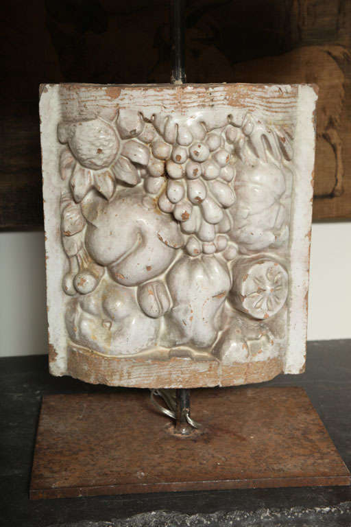 Pair of White Faience Table Lamps with Fruit Decoration Panel 7