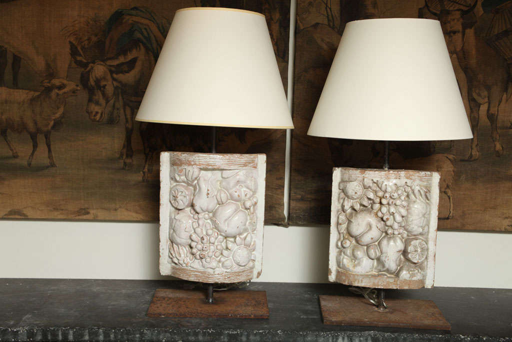 Pair of White Faience Table Lamps with Fruit Decoration Panel 2