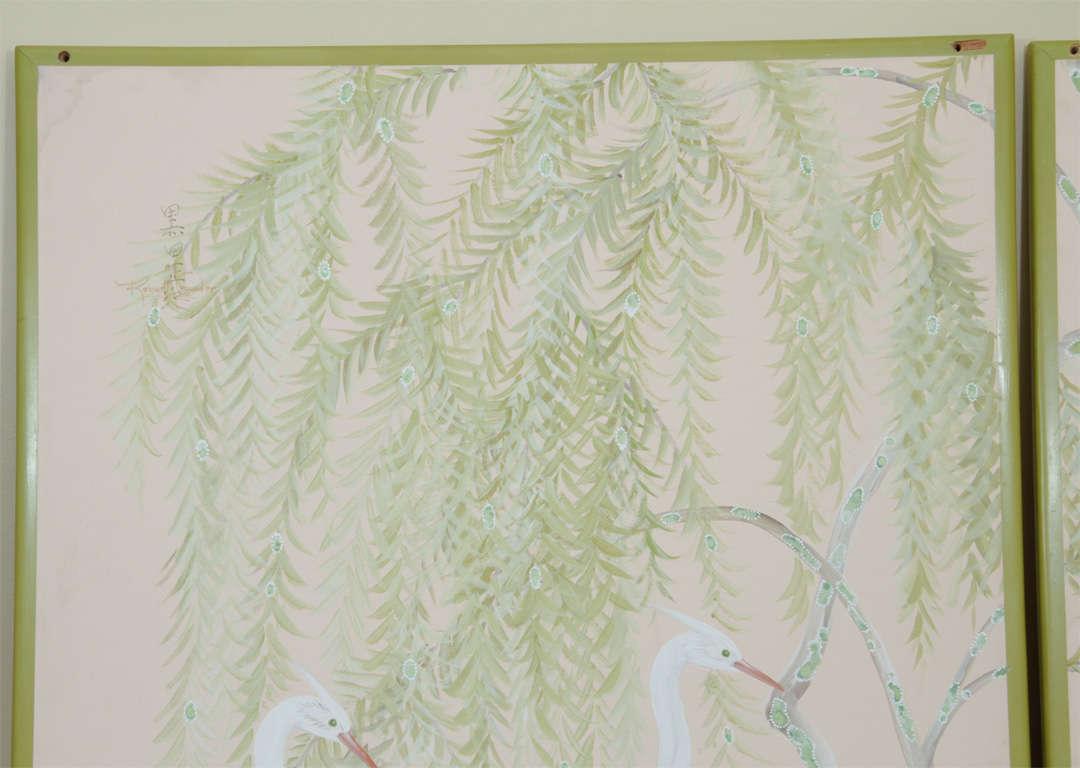 Vintage Room Divider Hand Painted Cherubs