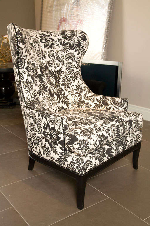 Handsome comfortable wingback chair upholstered in bold for Comfy chairs for sale