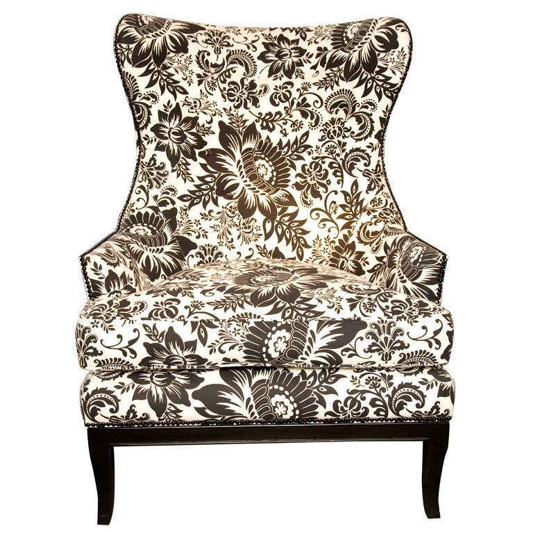 Handsome comfortable wingback chair upholstered in bold for Comfortable wingback chair