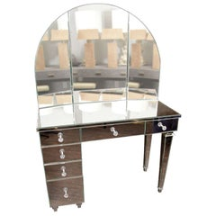 Art Deco Style Mirrored Vanity with Triptych Mirror