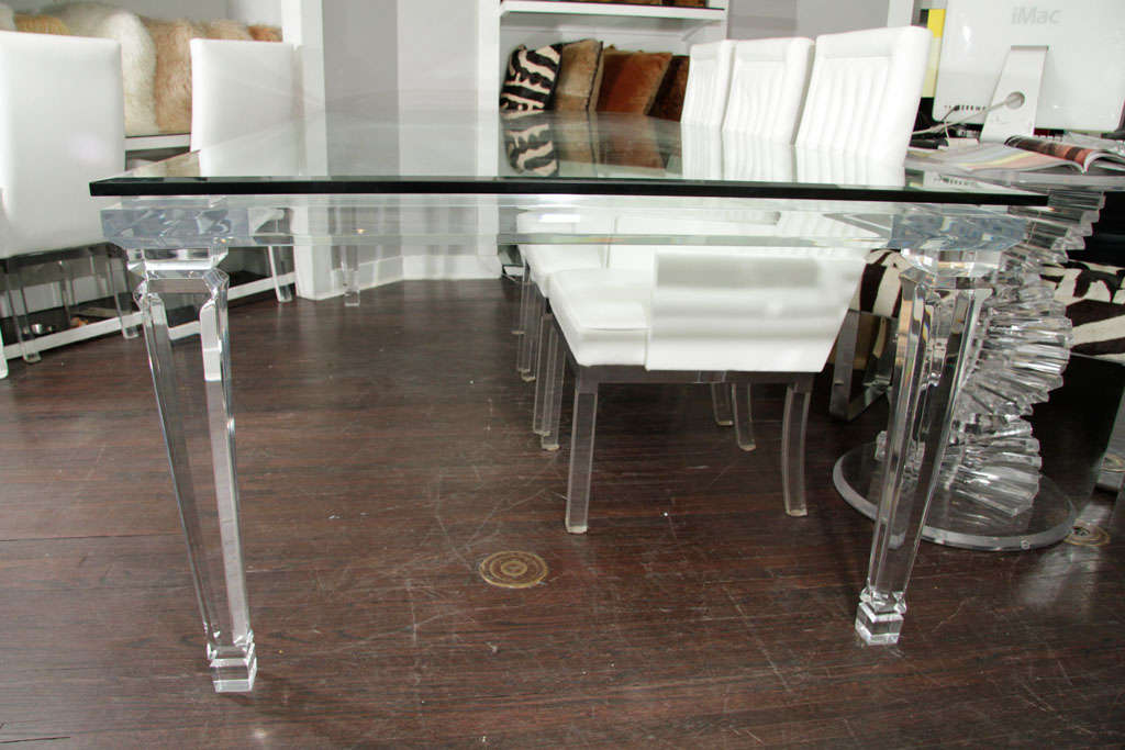 Lucite Dining Table with Banded Legs and Glass Top For  : MG6130 from www.1stdibs.com size 1024 x 683 jpeg 80kB