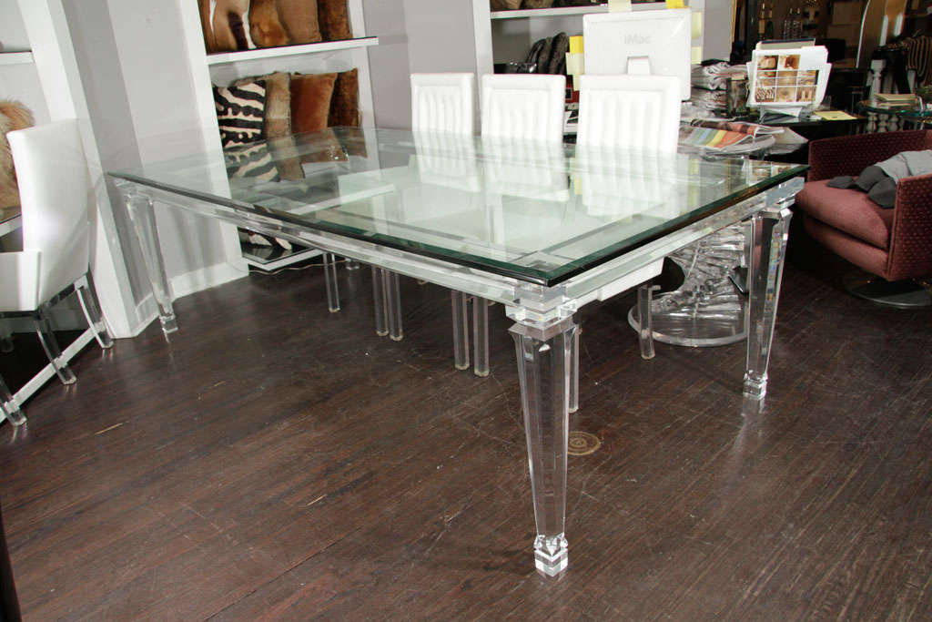 Lucite Dining Table with Banded Legs and Glass Top For
